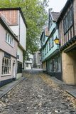 Ancient English Cobbled Street. Of Elm Hill, Norwich, Norfolk, UK royalty free stock image