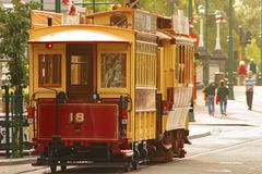 Ancient English tram. On the Christchurch's street, New Zealand Royalty Free Stock Photography