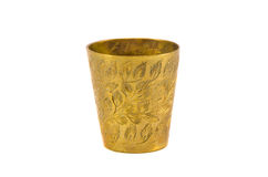 Ancient engrave brass cup isolated on white Stock Photography