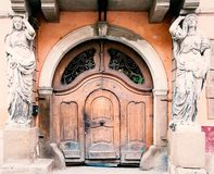 Ancient entrance to building in Romania stock images