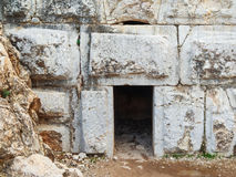 Ancient entrance to the fortress, huge boulders, Nimrod, Israel Royalty Free Stock Images