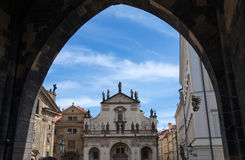 Ancient entrance to the Old Town Side in Prague Royalty Free Stock Photography