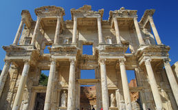 Ancient ephesus. Celsius Library in the ancient city of ephesus in Turkey Stock Photo