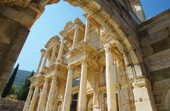 Ancient ephesus. Celsius Library in the ancient city of ephesus in Turkey Royalty Free Stock Photo