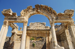 Ancient ephesus. Temple of hadrian in the ancient city of ephesus in Turkey Stock Photo