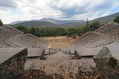 Ancient Epidaurus theatre on the Greek Argolid Peninsula. The ancient theatre of Epidaurus was designed by Polykleitos the Younger in the 4th century BC. It Royalty Free Stock Photo