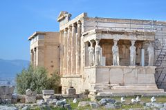 The ancient Erechtheion temple at Acropolis Athens Greece Stock Photos
