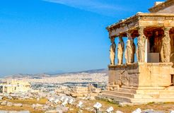 Ancient Erechtheion temple in Athens, Greece royalty free stock image