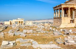 Ancient Erechtheion temple in Athens, Greece royalty free stock images