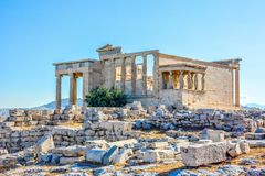 Ancient Erechtheion temple in Athens, Greece stock images