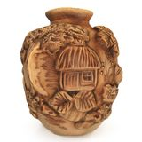 Ancient ethnic ceramic vase. With ornaments houses rosteny, fruit Stock Images