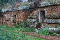 Ancient Etruscan necropolis near Cerveteri Royalty Free Stock Photos