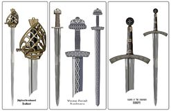 Ancient Europe weapon - set of swords. Viking`s sword, sword knights crusaders, broadsword of the highlanders of Scotland. Royalty Free Stock Photo