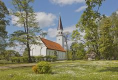Ancient Evangelic Lutheran church in Sigulda, Latvia Stock Photography