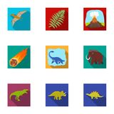 Ancient extinct animals and their tracks and remains. Dinosaurs, tyrannosaurs, pnictosaurs.Dinisaurs and prehistorical. Icon in set collection on flat style Stock Images