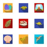 Ancient extinct animals and their tracks and remains. Dinosaurs, tyrannosaurs, pnictosaurs.Dinisaurs and prehistorical. Icon in set collection on flat style Stock Photos