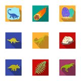 Ancient extinct animals and their tracks and remains. Dinosaurs, tyrannosaurs, pnictosaurs.Dinisaurs and prehistorical. Icon in set collection on flat style Royalty Free Stock Images