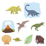 Ancient extinct animals and their tracks and remains. Dinosaurs, tyrannosaurs, pnictosaurs.Dinisaurs and prehistorical. Icon in set collection on cartoon style Royalty Free Stock Photography