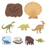 Ancient extinct animals and their tracks and remains. Dinosaurs, tyrannosaurs, pnictosaurs.Dinisaurs and prehistorical. Icon in set collection on cartoon style Royalty Free Stock Image