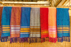 Ancient fabric Thailand made of hand-woven cotton fabric. Royalty Free Stock Image
