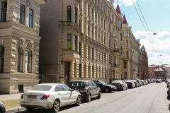 The ancient facades of houses along Pisarev Street. Streets and courtyards of the central historical part of the city Royalty Free Stock Photography