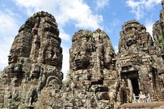 Ancient face sculptures in Bayon Temple Cambodia Stock Photos