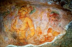 Ancient famous wall frescoes at Sigirya Sri Lanka Royalty Free Stock Photos