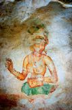 Ancient famous wall frescoes at Sigirya Sri Lanka Stock Photos