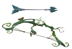An ancient fantasy imaginary green vine bow and arrow. A computer generated illustration image of an ancient fantasy imaginary green vine bow and arrow against a stock illustration