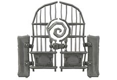 An ancient fantasy imaginary grey metal double swing gate. A computer generated illustration image of an ancient fantasy imaginary grey metal double swing gate royalty free illustration