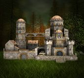 Old castle in the firs forest. Ancient fantasy stronghold in the dark woodland - 3D illustration stock illustration