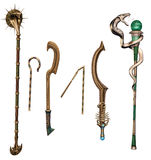Ancient fantasy weapons and staffs Stock Image