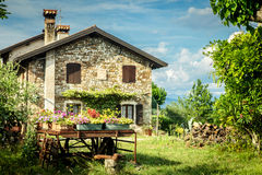 Ancient farm with flowers Stock Photography