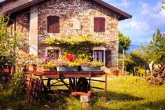 Ancient farm with flowers Royalty Free Stock Photo
