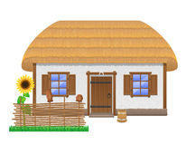 Ancient farmhouse with a thatched roof vector illustration. Isolated on white background Royalty Free Stock Photo