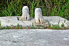 Ancient feet in Samos Greece royalty free stock images