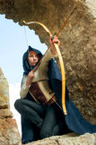 Ancient female archer. With bow and arrow Royalty Free Stock Image