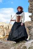 Ancient female archer. With bow and arrow Royalty Free Stock Photos