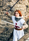 Ancient female knight Royalty Free Stock Images