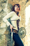 Ancient female knight Royalty Free Stock Photography