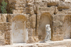 Ancient female sculpture in ancient park in Caesarea, Israel Stock Photography