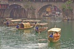 Ancient Feng Huang. China ,April 12,2013: evening passenger ship royalty free stock image