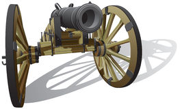 Ancient field gun. Vector detailed image of typical field gun of times of American Civil War,  on white background. File contains gradients. No blends and Royalty Free Stock Photography
