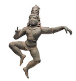 Ancient figure of dancing person isolated. Ancient Asian bronze figure of a Hindu dancing person, the East Indian child saint Sambandar. Isolated on white stock photography