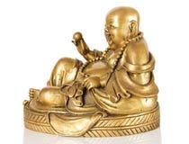 Ancient Figurine Cheerful Hotei. Royalty Free Stock Photo