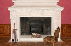 Ancient fireplace. 1600-1700 years. A museum piece castle Lvov, Ukraine Stock Photography