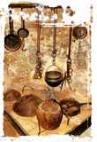 Ancient fireplace. With dish-ware in old mediterranean house Royalty Free Stock Photography