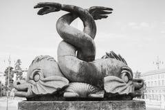 Ancient fish sculpture of Fontana del Nettuno. Ancient fish sculpture on the Fontana del Nettuno fountain, Piazza del Popolo square, old city center of Rome stock photos