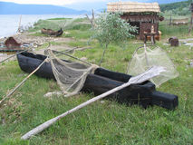 Ancient fisherman boat and tools ,Lake Prespa, Macedonia Stock Images