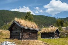 Ancient fisherman's wooden huts in ethnic park, Norway Royalty Free Stock Photography